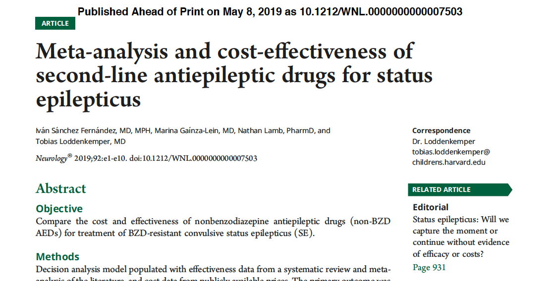 Fernandez, I.S., et al (2019) Meta-analysis and Cost-effectiveness of Second-line Antiepileptic Drugs for Status Epilepticus, Neurology 92(20). https://doi.org/10.1212/WNL.0000000000007503