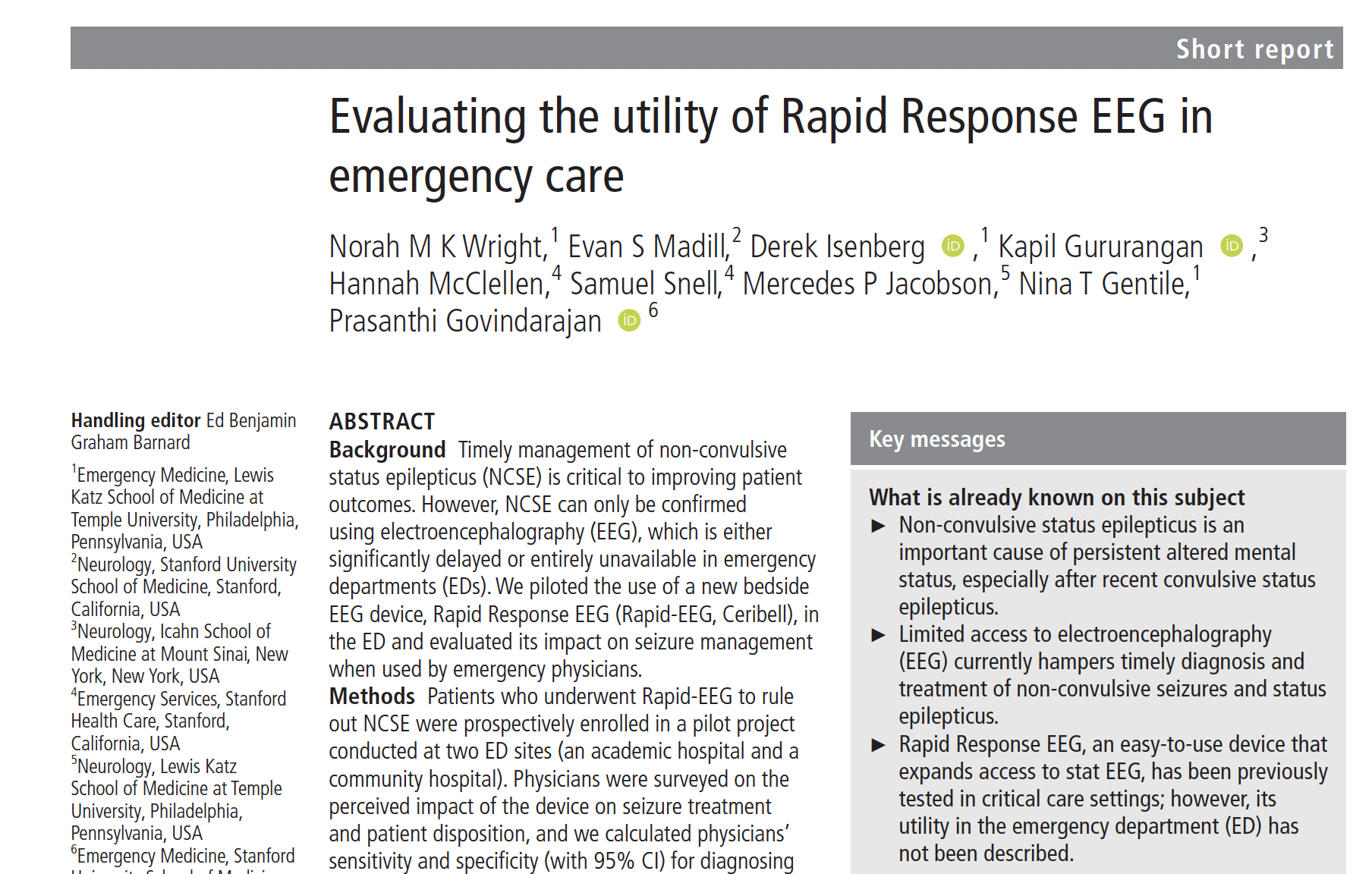 Evaluating the utility of Rapid Response EEG in emergency!care